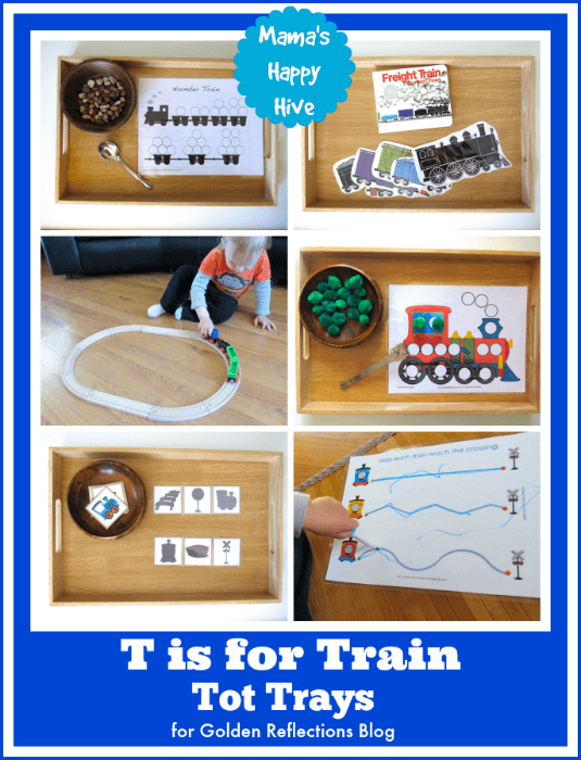 Fun and engaging train tot trays for tot school. www.GoldenReflectionsBlog.com