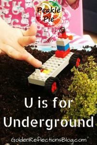 Underground sensory play ideas. www.GoldenReflectionsBlog.com