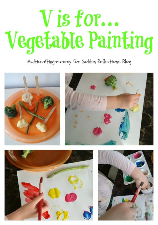 A really fun vegetable paining sensory play activity. www.GoldenReflectionsBlog.com
