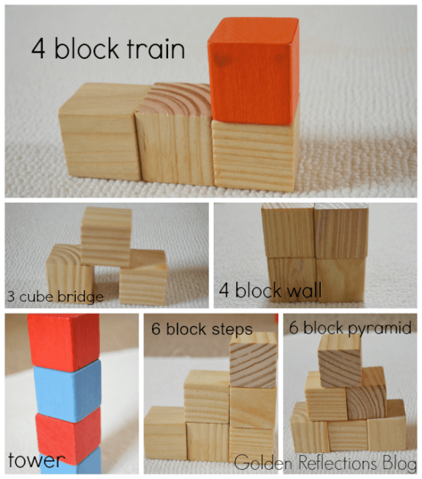 block designs for developmental modeling play. www.GoldenReflectionsBlog.com