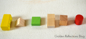 Learning patterns, colors, and shapes with wooden blocks for developmental play. www.GoldenReflectionsBlog.com