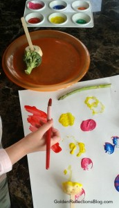 vegetable painting sensory play fun