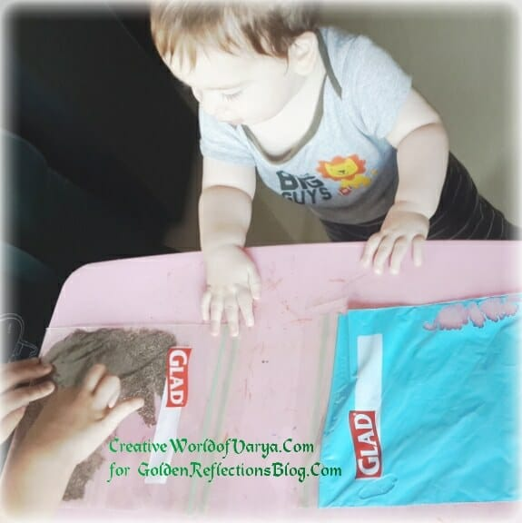 Ziplock sensory play ideas for kids. www.GoldenReflectionsBlog.com
