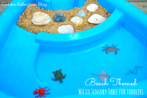 Beach themed water sensory table for toddlers