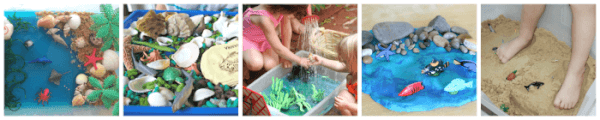 Ocean and beach sensory play ideas for kids.