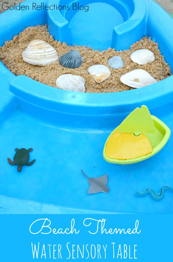 A super easy set up for a beach themed water sensory table for toddlers. www.GoldenReflectionsBlog.com