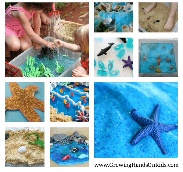Some of the best ocean and beach themed sensory play ideas for kids from kid bloggers. www.GoldenReflectionsBlog.com