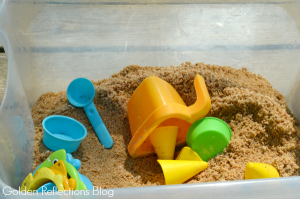 sand tub with beach themed water sensory table play