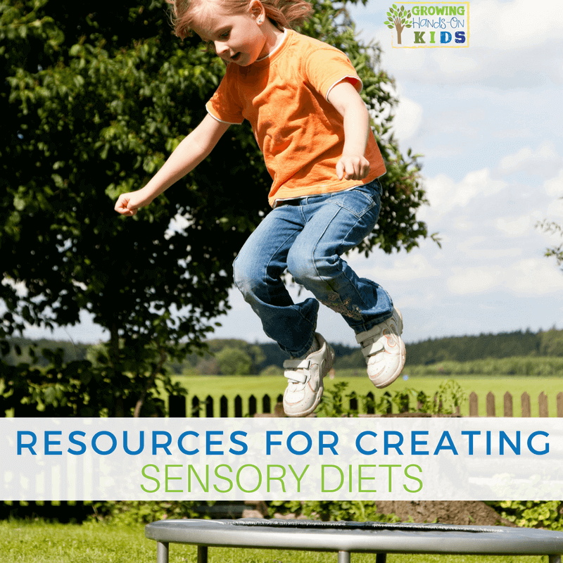 Resources for creating a sensory diet, for parents, teachers, and therapists.