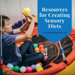 """Young boy sitting on a saucer swing throwing coloring balls at a target. Blue overlay with white text that says """"Resources for Creating Sensory Diets""""."""