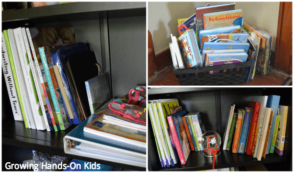 storage and book space in Montessori inspired tot-school space.