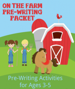 On the Farm Pre-writing Packet for Preschoolers ages 2-5