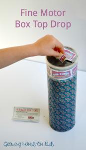 Fine motor box top drop for preschoolers. Sponsored by General Mills.