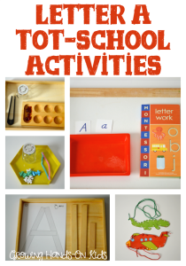 Letter A tot-school activity ideas for ages 3-4.