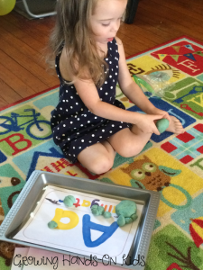 Letter A play dough mats.