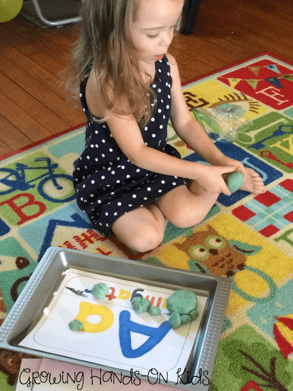 Letter A play dough mats.