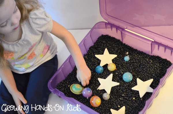 U is for Universe Sensory Bin, part of an Alphabet Sensory Activities blog hop.