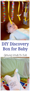 DIY Discovery box for baby, great sensory play for babies.