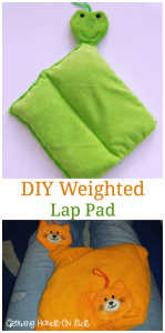 How to make a DIY weighted lap pad for sensory seeking kids.