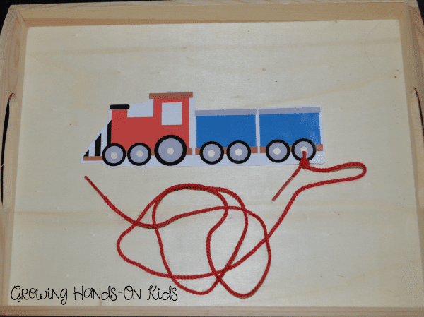 Letter T Activities, train lacing card.