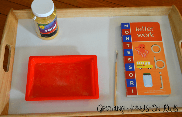 Letter T activities sand tray.