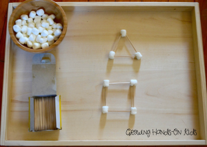 Marshmallow shapes for letter M activities for letter of the week tot-school, ages 3-4.