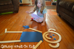 Mat Man activity for letter M activities for letter of the week tot-school, ages 3-4.