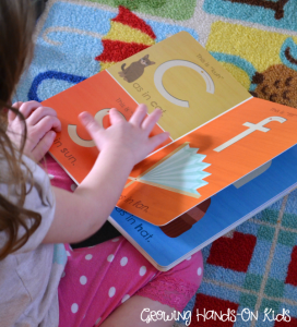 Montessori letter work book included in the language learning toolbox.