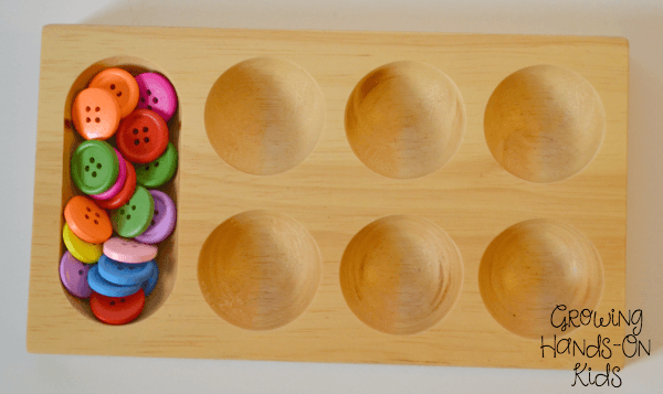 Button sorting tray for letter B activities for tot-school.