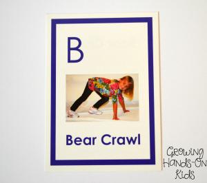 Gross motor bear crawl for letter B activities for tot-school