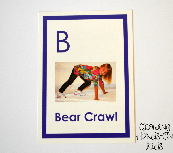 Gross motor bear crawl for letter B activities for tot-school