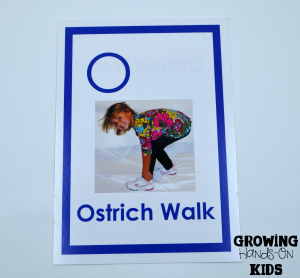 Letter O gross motor movement for tot-school activities.