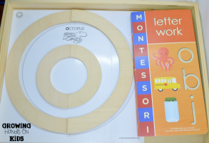 Pre-writing tray for letter O activities with tot-school.