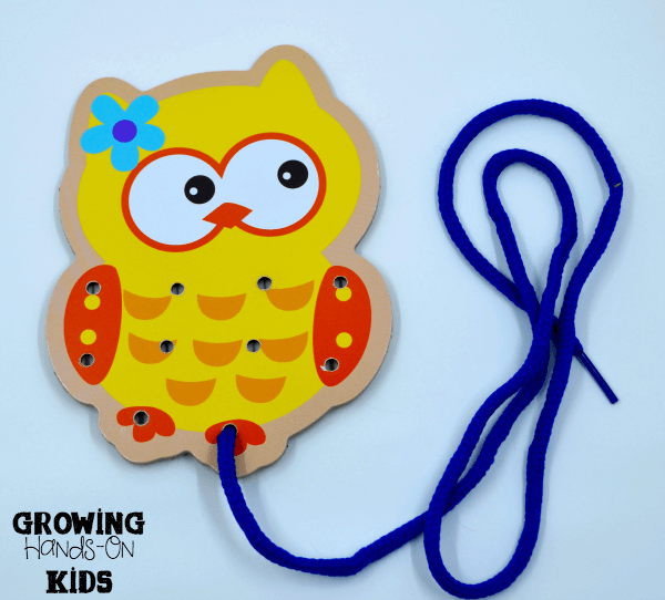 Owl lacing card for letter O activities for tot-school