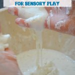Sparkly scented winter oobleck for sensory play.
