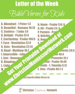 Letter of the week Bible verse printable.