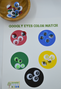 Googly eyes color match activity for the Letter G letter of the week tot-school theme.