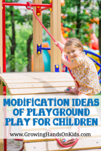 Benefits of playground play for all children, plus modification ideas for playgrounds for children with special needs.