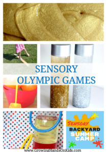 Sensory Olympic Games for a Sensory Backyard Summer Camp theme.