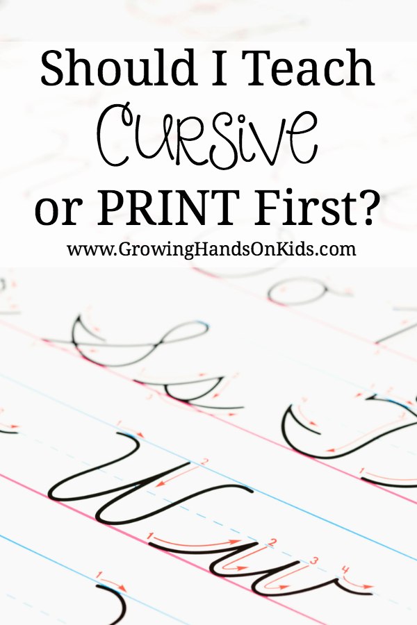 cursive or print handwriting first?