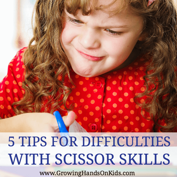 5 tips for difficulties with scissor skills for kids, including tips for left handed kids and cutting with scissors.