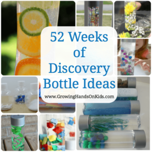 52 weeks of discovery bottle ideas for kids, also called sensory bottles.