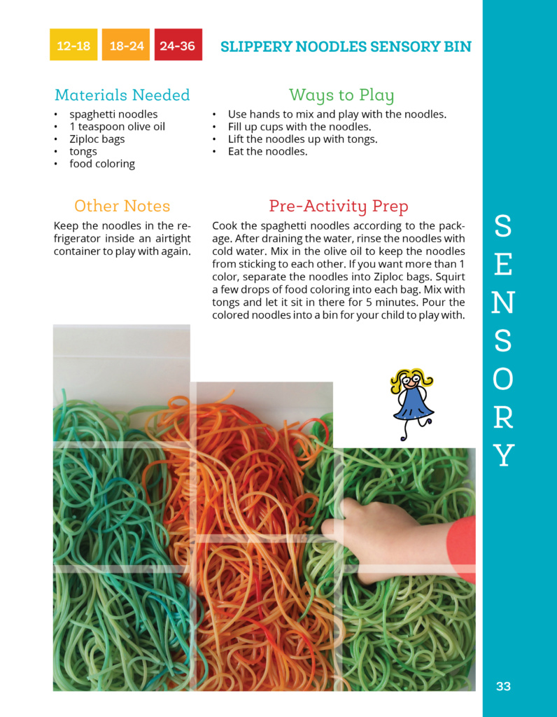 Noodles sensory bin from The Toddler Journey book.