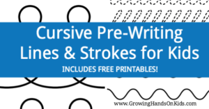 Cursive prewriting line and stroke printables for preschoolers and kids.