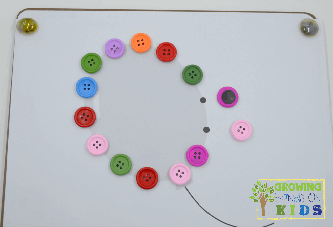 DIY Button and bead magnets for hands-on activities for preschoolers.