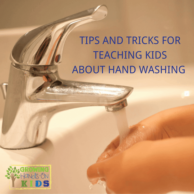 Child washing hands in a white sink. Tips and tricks for teaching kids about hand washing skills.
