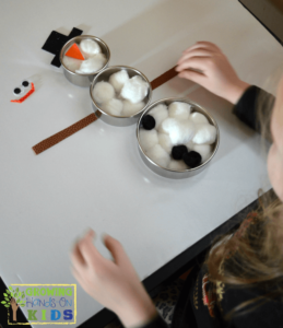 Build a snowman busy bag for preschoolers, perfect winter quiet activity