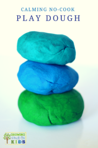 Calming no-cook play dough recipe using essential oils.