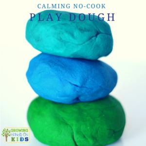 Calming no-cook play dough recipe using essential oils.