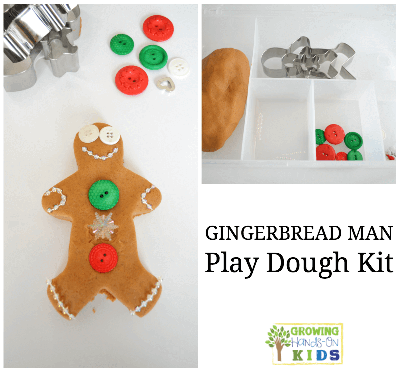 Gingerbread man play dough kit, perfect for quiet time or a gift for preschoolers.